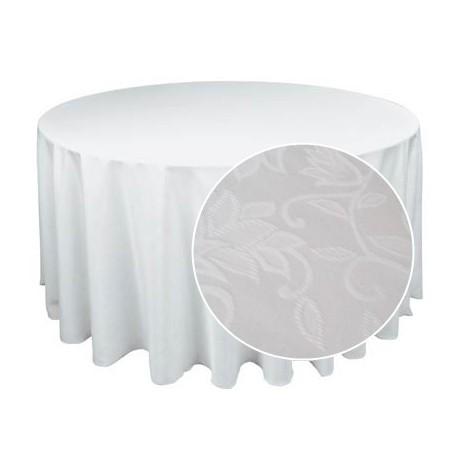 Apaļš balts galdauts, ar rakstu, d-2.7m
