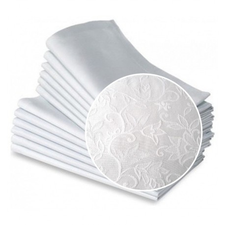 Balta auduma salvete ar lillijas rakstu 45*45