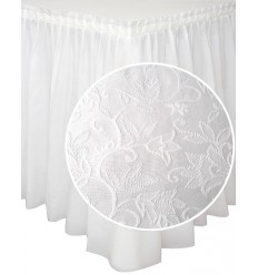 Balti galda svārki ar lilijas dekoru 200*73