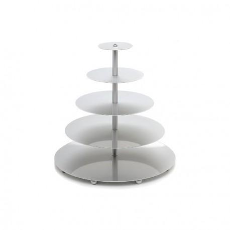 Piecstāvīgi metāla ( augstvērtīga nerūsējošā tērauda) tortes paliktņi 45*38*32*26*20cm , h - 70cm