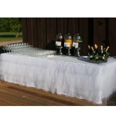 Balti galda svārki ar tillu 3.40*0.77m